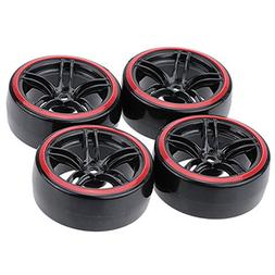 LAFEINA 1:10 RC Drift Wheels and Tires Set, Hard Tyres for 1