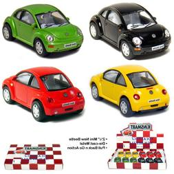"""Box of 12 Cars: 2½"""" Die-cast VW New Beetle 1/64 Scale, Pull"""