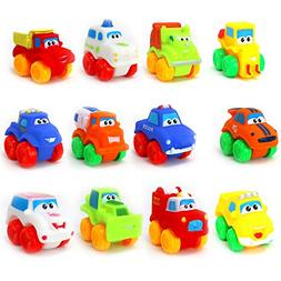 12 Pieces Baby Cars Soft Rubber Toy Vehicles for Babies Todd