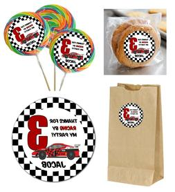 24 Race Car Personalized Stickers for Lollipops, goody bag,