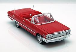 1963 Chevy Impala Convertible, Red - Welly 22434 - 1/24 scal