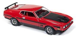 Auto World 1972 Ford Mustang Mach 1, Red w/ Black Hood AW641