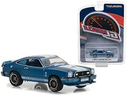 1976 Ford Mustang II Cobra II Blue with White Stripes Greenl