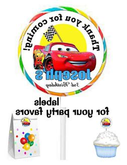 DISNEY CARS BIRTHDAY PARTY FAVORS STICKERS LABELS for lollip