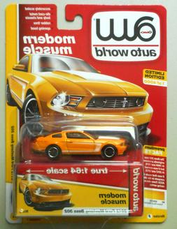 2012 Ford Mustang BOSS 302 Yellow Blaze AUTO WORLD DIE-CAST