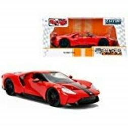 2017 Ford GT Red with Black Stripes 1/24 Diecast Model Car b