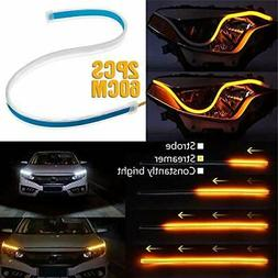2x 60cm DRL Strip for Cars or Headlights Turn Signal or Dayt