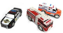 3-In-1 Emergency Vehicle Toy PlaySet For Kids Fire Truck Pol