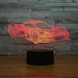 3D LED Night Light Car Series Table Lamp Remote Control Gift
