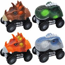 JOYIN 4 PCs Pull Back Dinosaur Car Monster Truck Vehicle Pla