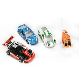 4Pcs Friction Powered Vehicle Playset Pull Back Metal Car He
