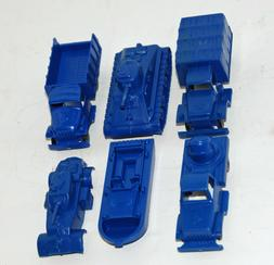 6 BLUE MARX ARMY MILITARY VEHICLE LOADS LOT FOR FLAT CAR. OL