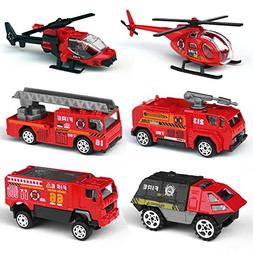 Tianmei 6 Cars in 1 Set Fire Rescue styling 1:87 Alloy Dieca