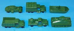 6 GREEN  ARMY MILITARY VEHICLE LOADS LOT FOR MARX FLAT CARS.