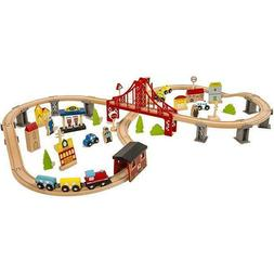70pcs  Wooden Train Set for Kids Tracks Set with Magnetic Tr