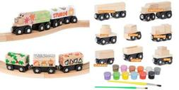 Orbrium 8 Unpainted Train Cars with 12 Colors Paint and Brus