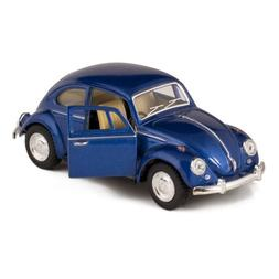 Blue 1967 Classic Die Cast Volkwagen Beetle Toy with Pull Ba