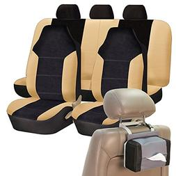 FH Group FH-FB103115 Leather/Velour High Back Seat Covers Be