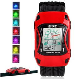 Kids Watches LED Waterproof 3D Car Silicone Children Toddler