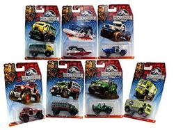 Matchbox Jurassic World 1:64 All 7 Vehicles - MBX 4x4, Cliff