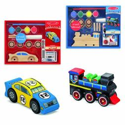 Melissa & Doug Decorate-Your-Own Wooden Train and Race Car C