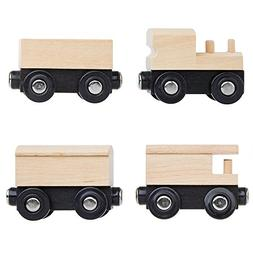 Orbrium Toys Unpainted Wooden Train Cars Compatible with Tho