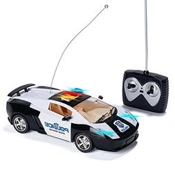 Prextex Remote Control Police Car with LED Lights and Rc Pol