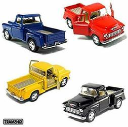Set of 4 die-cast Chevy Stepside Pick-Up 1/32 Scale, Pull Ba