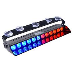 WOWTOU Emergency Strobe Dash Light Blue Red 16W 12 LED with