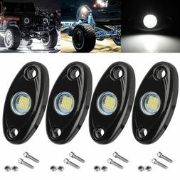 4x White LED Rock Light 4Pods Lights For JEEP Off Road Truck