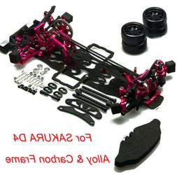 Alloy & Carbon Frame Kit W/ Wheel For SAKURA D4 AWD RC 4WD D