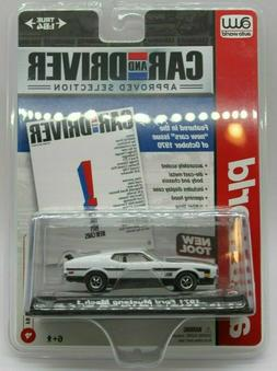 AW Auto World Car and Driver White 1971 Ford Mustang Mach 1