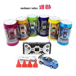 Cans type mini RC car with 4pcs roadblocks,color random,Su