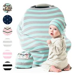Baby Car Seat Cover Gift Set - Stretchy Multi Use Canopy for