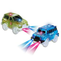 Car Tracks,Light Up Green Military Jeep and Blue Police Car,