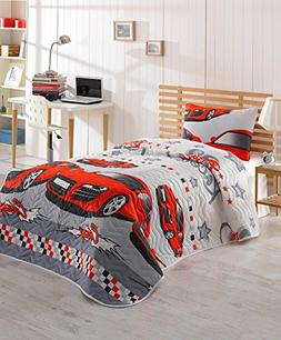 DecoMood Cars Bedding, Single/Twin Size Bedspread/Coverlet S