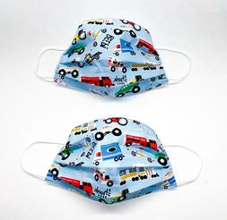 CARS FACE MASK 2 IN PACK FOR BOYS 3-9 YEARS OLD COTTON WASHA