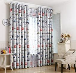 GYROHOME Cartoon Car and Bus Blackout Curtain Grommet Top Th