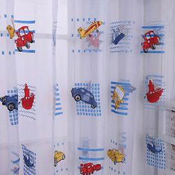 Cartoon Cars Voile Blackout Curtains for Kids Room Window Cu