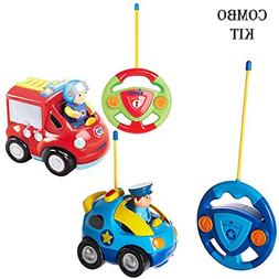 Pack of 2 Cartoon Remote Control  Police Car & Fire Truck Ra