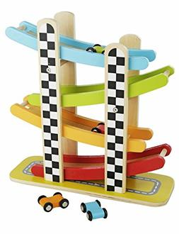 colorful wood race track ramp