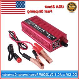 DC 12V to AC 110V 2000W Power Inverter Converter with Dual O
