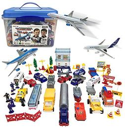 Liberty Imports Deluxe 57-Piece Kids Airport Playset in Stor