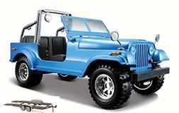 Diecast Car & Trailer Package - Jeep Wrangler, Blue - Bburag