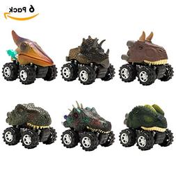 MUSTFIT Dinosaur Car Toys  Pull Back Vehicle Party Supplies