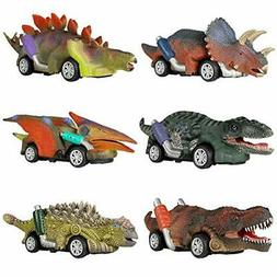 Dinosaur Toy Pull Back Cars, 6 Pack Dino Toys for 3 Year Old