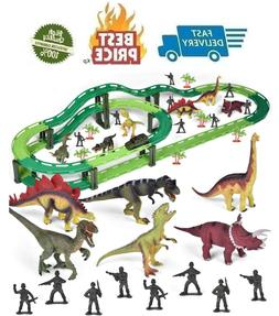 Dinosaur Train Set, Electric Cars Toy Set for Kids, Flexible