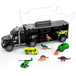 Dinosaur Transport Car Carrier Truck Toy with 6 Dinos 3 Matc