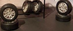 SIX  RUBBER TIRES AND RIMS FOR 1:18 Scale CARS GARAGE DIORAM