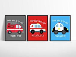 Emergency Vehicle Themed Art Prints Wall Decoration  Fire Tr